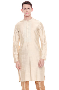 Shatranj Men's Indian Classic Collar Hand Embroidered Placket Long Kurta Tunic Beige