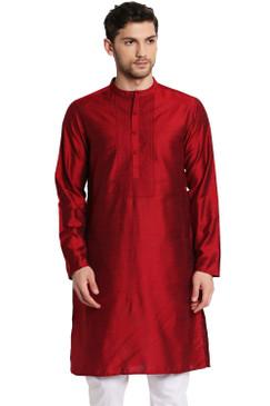 Shatranj Men's Indian Classic Collar Hand Embroidered Placket Long Kurta Tunic Maroon