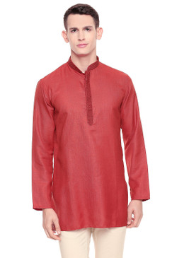 Shatranj Men's Indian Band Collar Classic Kurta Tunic With Embroidered Placket Red