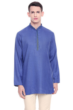 Shatranj Men's Indian Band Collar Classic Kurta Tunic With Embroidered Placket Blue