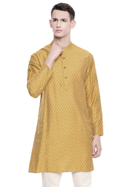 Men's  Indian Traditional Mandarin Kurta Tunic: Mustard | Front view | In-Sattva