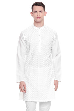 Men's  Indian Traditional Embroidered Mandarin collar Kurta Tunic: Square White | Front view | In-Sattva