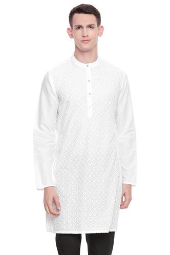 Men's  Indian Traditional Embroidered Mandarin collar Kurta Tunic: Diamond White | Front view | In-Sattva