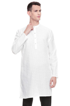 Men's  Indian Traditional Embroidered Mandarin collar Kurta Tunic: Round White | Front view | In-Sattva