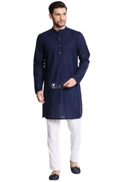 In-Sattva Men's Indian Mandarin Collar Handcrafted Fine Embroidered Kurta Tunic Navy