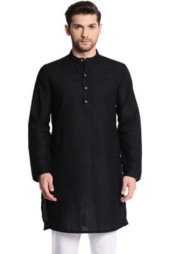 In-Sattva Men's Indian Mandarin Collar Handcrafted Fine Embroidered Kurta Tunic Black