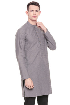 Men's  Indian Traditional Fine Embroidered Kurta Tunic: Grey | Side view | In-Sattva