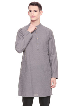 Men's  Indian Traditional Fine Embroidered Kurta Tunic: Grey | Front view | In-Sattva