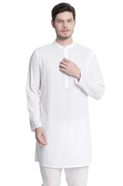 In-Sattva Men's Indian Mandarin Collar All Over High Embroidered Kurta Tunic White