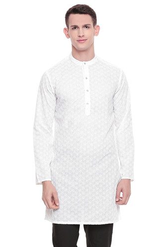 Men's  Indian Traditional Embroidered Mandarin collar Kurta Tunic: All Over White Oval | Front view | In-Sattva