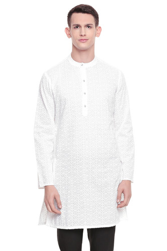 Men's  Indian Traditional Embroidered Mandarin collar Kurta Tunic: All Over White Diamond | Front view | In-Sattva