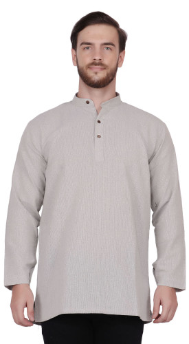Men's  Indian Traditional Khadi cotton Kurta Tunic: Gray | Front view | In-Sattva