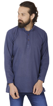 Men's  Indian Traditional Khadi cotton Kurta Tunic: Blue | Front view | In-Sattva