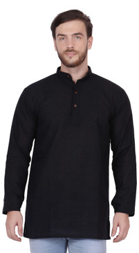 Men's  Indian Traditional Khadi cotton Kurta Tunic: Black | Front view | In-Sattva
