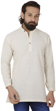 Men's  Indian Traditional Khadi cotton Kurta Tunic: Off-White | Front view | In-Sattva
