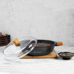 Wonderchef Die Cast Non-Stick Aluminum Shallow Casserole with Lid and Wooden Handle, 28cm, Black