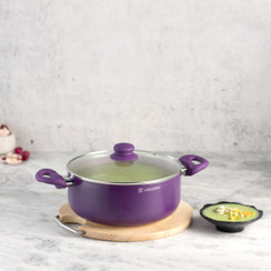 Wonderchef Royal Velvet Non-Stick, PFOA-Free and Nickel-Free Aluminum Casserole with Lid, Violet