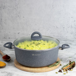 Wonderchef Granite Non-Stick Aluminum Indian Cooking Casserole with Lid, Gray