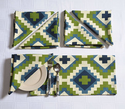 In-Sattva Home 100% Cotton Bohemian Print and Pattern Soft Feel Table Napkin Set; Ideal for Family, Get-Together, Parties, Holidays; Grn