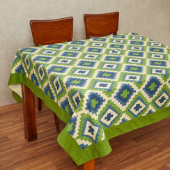 In-Sattva Home 100% Cotton Bohemian Print and Pattern WashableTable Cover Cloth;  Lt Green