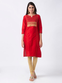 In-Sattva Women's Regal Embroidered Red and Gold Long Kurta Tunic