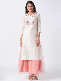 In-Sattva Women's White Long Kurta Tunic with Pastel Floral Embroidery