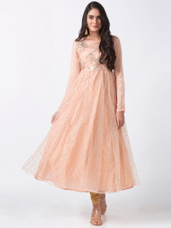 In-Sattva Women's Elegant Handmade Floral Embroidered Peach Dress