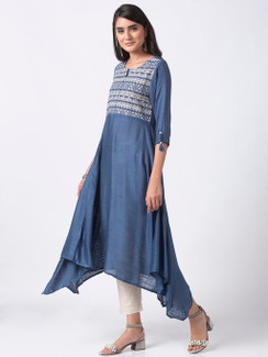 Ethnicity Handmade Embroidered Blue Asymmetrical Flared Long Tunic Dress