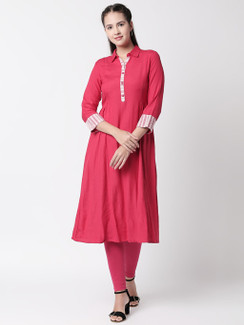 Ethnicity Handmade Collared dress with Functional Button-Down Placket