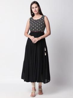 Ethnicity Handmade Embroidered Sleeveless Black Gathered Dress with Tassel