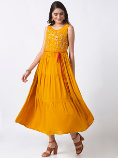 Ethnicity Handmade Cheerful Embroidered Mustard Sleeveless Tiered Dress
