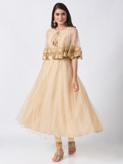 Ethnicity Elegant Handmade Gold Embroidered Beige Sleeveless Dress with Cape