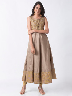 Ethnicity Elegant Gold and Beige Embroidered Sleeveless Tafetta Dress