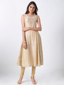 Ethnicity Handcrafted Sleeveless Beige Printed and Embroidered A-Line Dress