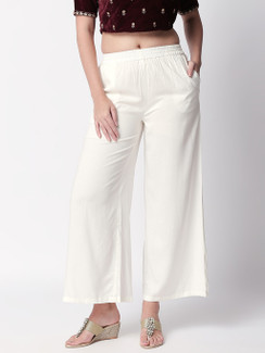 Ethnicity Handcrafted Off-White Palazzo Pants with Pockets