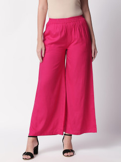Ethnicity Handcrafted Fuchsia Palazzo Pants with Pockets
