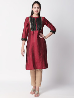 Ethnicity Classy Maroon Metallic Striped Kurta Tunic with Button Down Placket
