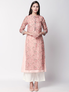 Ethnicity Floral Blush Pink Kurta Tunic with Button Down Placket