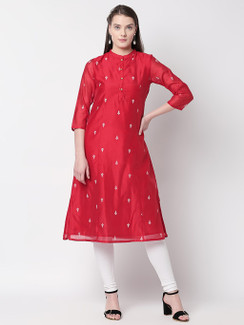 Ethnicity Vibrant Red Kurta Tunic with Button Down Placket