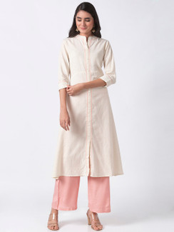 Ethnicity Off-White Long Kurta Tunic with Functional Button Placket