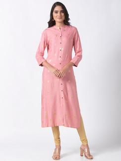 Ethnicity Printed Blush Pink Long Kurta Tunic with Button Placket