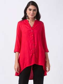 Ethnicity Red High-Low Kurta Tunic with Functional Button Placket
