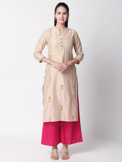 Ethnicity Handmade Beige Long Kurta Tunic with Embroidery and Button Placket