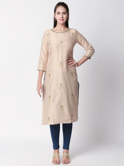 Ethnicity Beige Long Kurta Tunic with Teal Accented Embroidery