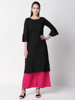 Ethnicity Pleated Black Long Kurta Tunic with Bell Sleeves