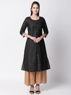 Ethnicity Metallic Black  A-Line Long Kurta Tunic with Button-down Placket