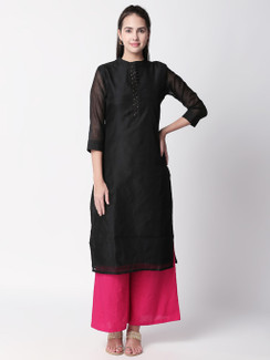 Ethnicity Handcrafted Black Long Kurta Tunic with Mandarin Collar