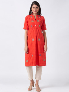 Ethnicity Artisan Coral Embroidered with Button-down Placket
