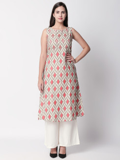 Ethnicity Artisan Printed Coral Sleeveless Long Kurta Tunic with Pockets