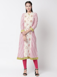 Ethnicity Off-White Stripped and Floral Designed Long Kurta Tunic